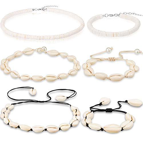 6 Pieces Puka Shell Necklace and Shell Bracelet Set Natural Shell Choker Necklace Shell Anklet Bracelet Beach Hawaiian Puka Chip Shells Necklace Handmade Adjustable for Girls Ladies Women, 3 Style