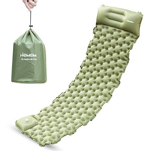 HLOMOM Colchoneta aislante para camping – Colchoneta inflable para dormir autoinflable, ligera colchoneta para senderismo, viajes, duradera, impermeable, esterilla de aire compacta (verde)