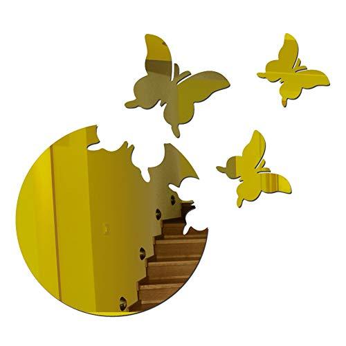WiFndTu - Adhesivo decorativo para pared con espejo de mariposa, 3D, acrílico, autoadhesivo, para decoración del hogar, sala de estar, dormitorio