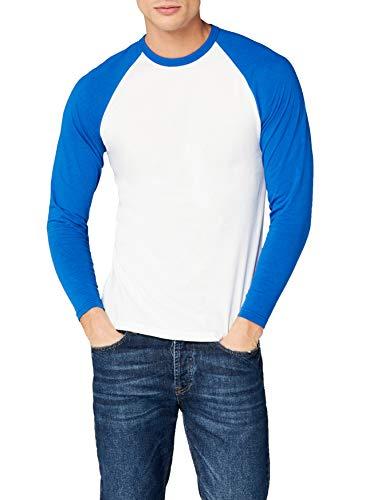 Fotl Long Sleeve Baseball tee Camisa, Multicoloured (White/Royal), M para Hombre