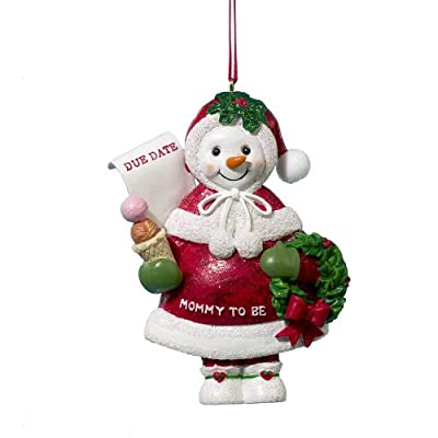 Mommy To Be Pregnant Baby Bump Snowman Christmas Tree Ornament