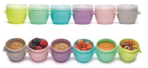 MELII set de 6 botes de plástico para potitos bebe, juego de 6 recipientes de comida para bebe, herméticos, apilables, aptos para congelador, microondas y lavavajillas, 59 ml. 5x7x6.25 cm