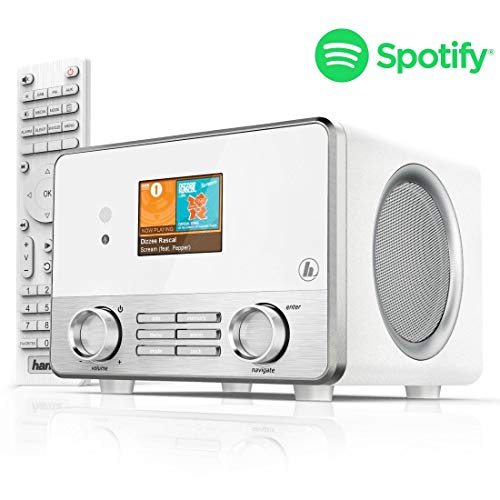 Hama Internetradio IR111MS (Spotify, WLAN/LAN, USB, Multiroom, 30 Favoritenplätze, Wifi-Streaming, beleuchtetes 2.6