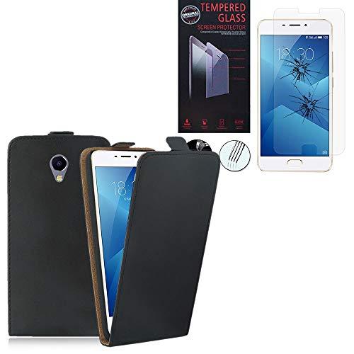 Annraft - Funda para Meizu M5 Note de 5,5 pulgadas, funda ultrafina de piel sintética, color negro + 1 película de vidrio templado transparente para Meizu M5 Note 5,5 pulgadas