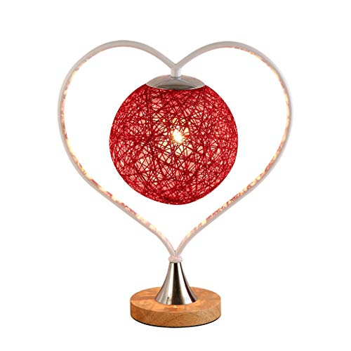 LZY Heart Accent Globe - Lámpara de Mesa, lámpara de Noche de ratán Rojo con Marco Dorado, lámpara de mesilla Decorativa única para habitación de niñas, Boda, Interruptor de Encendido/Apagado
