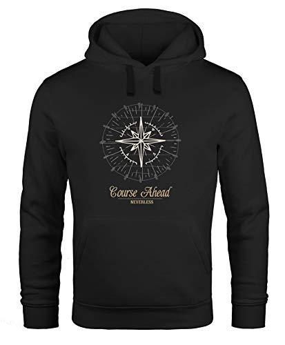 Neverless Sudadera con capucha para hombre, brújula, rosa de viento, navegador Negro...
