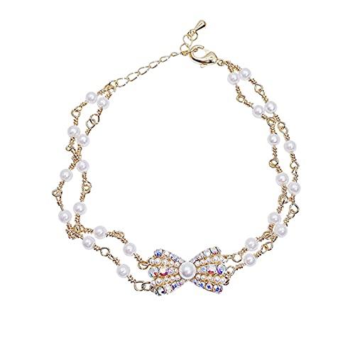 FPOJAFVN Pulsera De Perlas con Lazo De Diamantes De Color De Moda, Pulsera Creativa Personalizada De Doble Capa para Mujer, Regalo De Joyería De Navidad,Oro