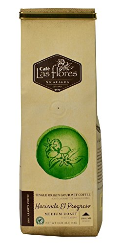 Hacienda El Progreso Rainforest Alliance Certified Coffee, Ground Medium Roast, 16 oz (1 pound) 100% Arabica - Nicaragua's Finest Coffee