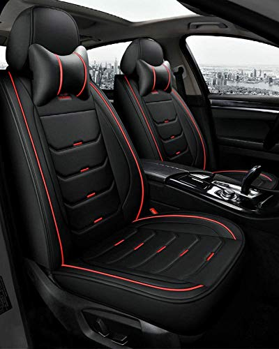 (delantero + Trasero) Funda De Asiento De Coche De Cuero Juego Completo Universal Four Seasons Cojín De Soporte De Cuero Impermeable Para Audi A3 / A4 / A5 / A6 / A8 / Q3 / Q5 / Rs4,Standard-Red+black