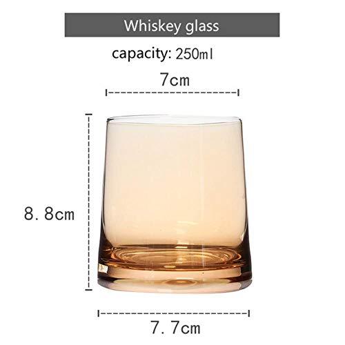 IXL European Creative Egg Egg Cup Gran Capacidad Vidrio sin Plomo Electrochapado Color Home Crystal Juice Cup Jarra de Cerveza, ámbar Whisky Glass