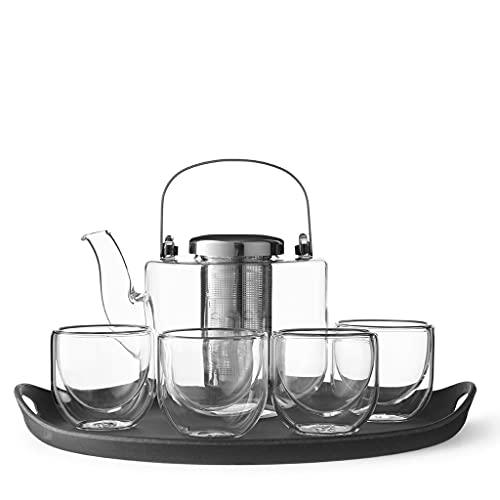 Tee-Set Glas: Teekanne mit Siebeinsatz, 4 kleine Tee-Tassen aus Borosilikat Glas und Serviertablett grau, Geschirrspüler-geeignet, Tropffrei, 0.75 Liter