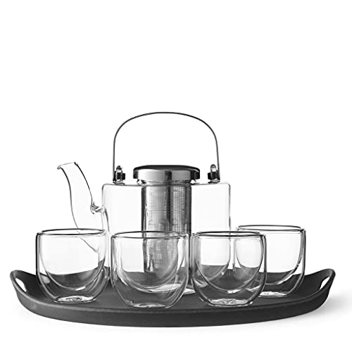 Service à thé, théière en verre borosilicate avec...