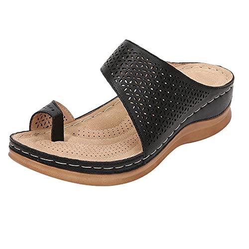 Orgrul Sandalias Mujer Verano 2021, Chanclas Mujer Verano, Planas Bohemio Brillantes Sandalias PU Piel Elástica Playa Zapatos Separador de Dedos EF1 (41, negro)
