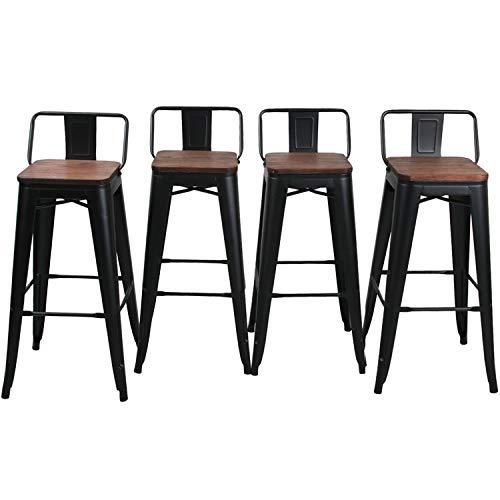 HAOBO Home - Sgabello moderno industriale in metallo, set di 4 sedie da pranzo 30' Retro basso nero opaco con legno.