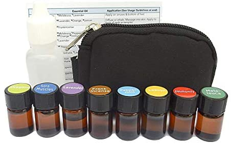 Young Living Essential Oil Compare Filled Keychain Kit with (8) 2ml Vials of Frankincense, Tea Tree, Lemon, Lavender, Peppermint, Breath, Immunity and Sore Muscle w/ 15ml Fractionated Coconut Oil