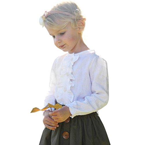 Amlaiworld Mädchen Weiß Niedlich Langarm Bluse+ Rock mit Knopf Kinder Kleider Set,12-36 Monate (36 Monate, Weiß)