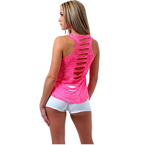 Huihong Damen Sommer  Perspektive zurück Tank Crop Tops Vest Ärmellos Hohllöcher Weste Cami Oberteile T-Shirt Geburtstags Geschenk Für Frauen Mädchen Freundin (Hot Pink, XL)