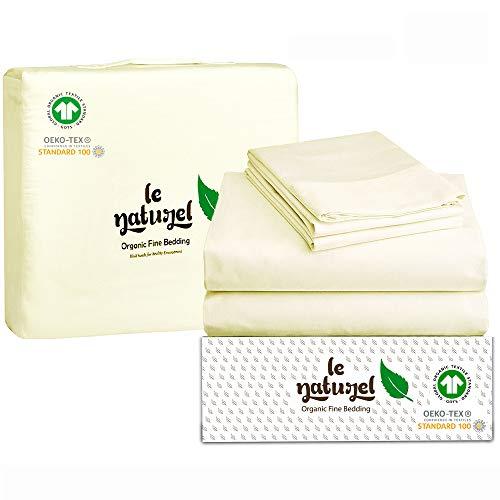 Organic Cotton Bed Sheets Queen - Organic Natural Sheets - 300 Thread Count Organic Cotton - Organic Cotton Sateen Sheets - Deep Pocket Organic Cotton Sheets - GOTS Certified Sheets