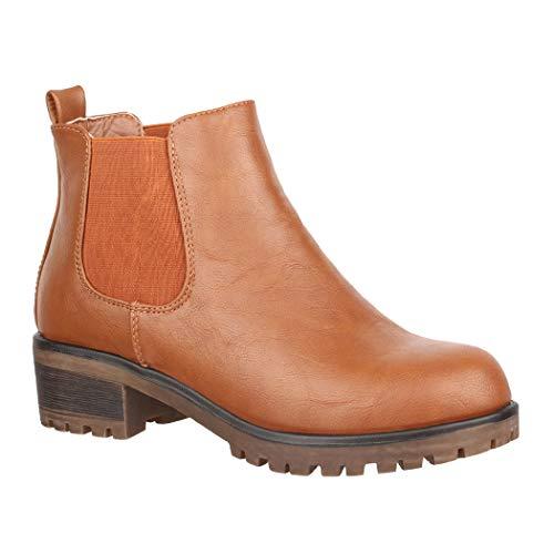 Elara Damen Stiefeletten Chelsea Boots Chunkyrayan KA575sl Camel-38