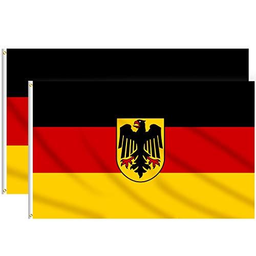 Lixure Deutschland Flagge/Fahne mit Alder Flagge 3x5FT(90x150cm) x2 Pack Polyester-Lebendige Farbe und Doppelt Genähte Nationalflaggen Polyester Banner mit Messingösen für Draußen und Drinnen MEHRWEG