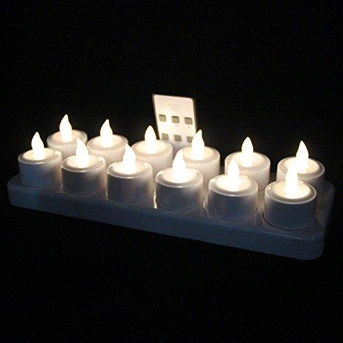 EuroFone Flameless LED Teelicht Kerze wiederaufladbare LED Kerzen mit Cup 12pcs (Warm white with remote)