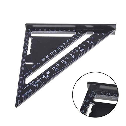 Regla triangular métrica de aleación de aluminio de 18 cm para herramientas de carpintería, herramienta de medición de ángulo cuadrado y velocidad