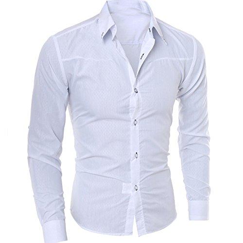 VEMOW Herbst Sommer Business Mann Mode Gedruckt Bluse Casual Täglichen Formalen Anlass Hemd Langarm Slim Shirts Tops(Weiß, 54 DE/XL CN)