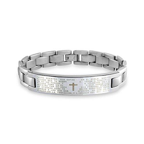 Bling Jewelry Nuestros Señores Cruz Oración El Padre Maestro Enlace Brazalete Entificación Muñeca para Hombres Tono Plateado Acero