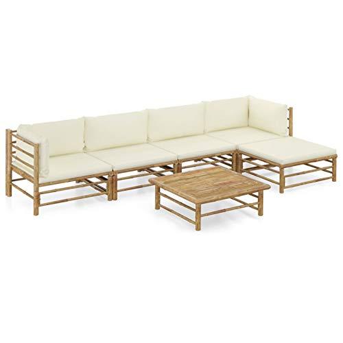 Tidyard Set de Muebles de Jardín 6 Piezas Sofá de jardín Exterior Terraza con Mesa Bambú y Cojines Blanco Crema