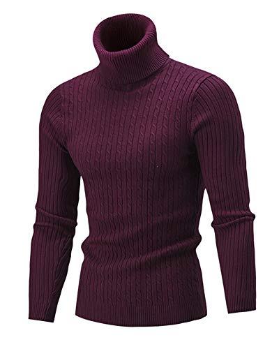 GUOCU Uomo Autunno Inverno Manica Lunga Collo Alto Maglione Tinta Unita Slim Fit Classico Casuale Maglia Pullover Tops Vino Rosso M