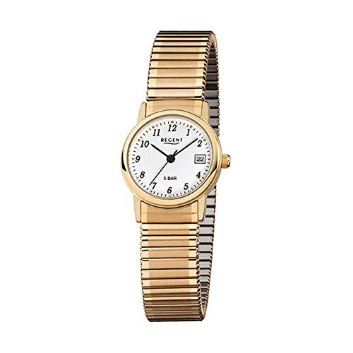 REGENT Uhr Damenuhr 76104599 klassische Damenuhr FLEX Zugband vergoldet