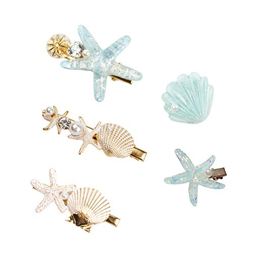 Shell Pearl Starfish Hair Clip Set for Women Girls, Princess Hair Clips, Alligator Hair Clips, Ladies and Girls Headwear Styling Tools Hair Accessories