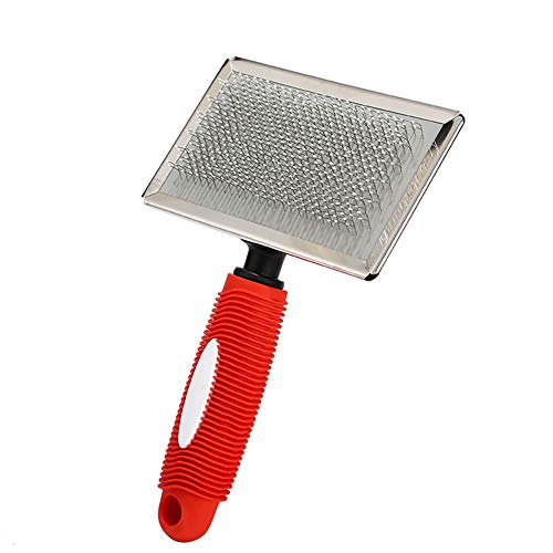 Pet Steel Needle Dematting Tool Knot Comb Grooming Tool for Dog Cat(Red S)