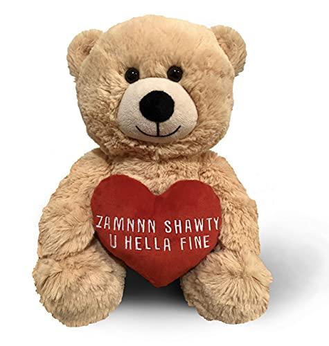 Zamnnn Shawty U Hella Fine (Beige) 10 Inch Teddy Bear & Gift Bag - Funny Cute Stuffed Animal Plush for Girlfriend, Wife, Boyfriend or Best Friend - Birthday, Anniversary & Wedding Gifts - Witty Bears