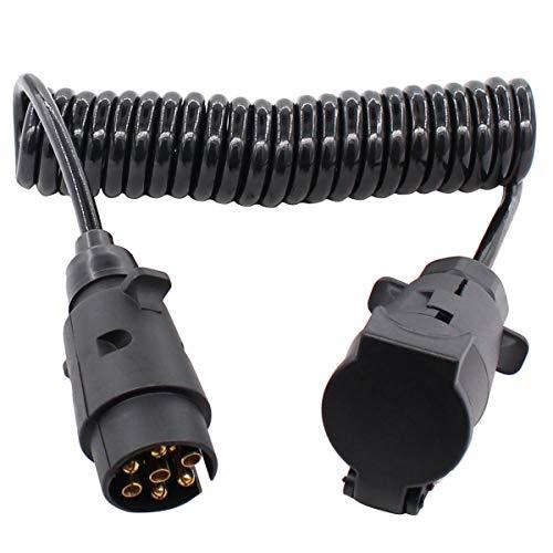 Cable alargador para remolque, cable en espiral, 12 V, 7 pines, 3 m, enchufe para remolque, adaptador para coche, caravana y caravana, color negro