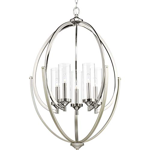 Progress Lighting P400025-104 Evoke Five-Light Chandelier, Polished Nickel