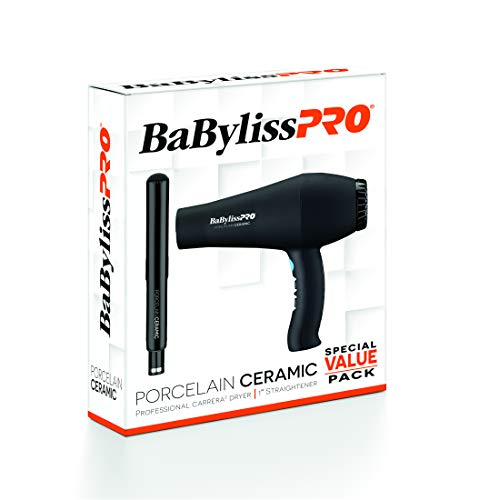 """Price comparison product image BaBylissPRO BPPP1 Porcelain Ceramic 1"""" Straightening Iron and Carrera2 Hair Dryer Value Pack,  Set of 2"""