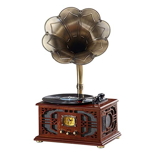 Kaidanwang Tocadiscos de Vinilo Gramófono clásico Retro Vintage, Reproductor de Discos de Vinilo, altavoce de fonógrafo Altavoz estéreo, Caja de música del Sistema de Sonido para Decorar el hogar