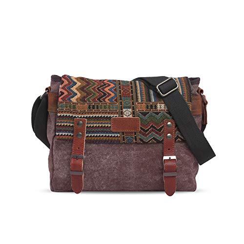 FANDARE Retro Borsa a tracolla Uomo/Donna Business Commuter Crossbody Bag Outdoor Travel Camping Grande Capacità Messenger Bag Traspirante Tela Marrone