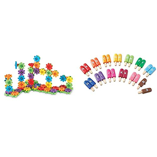 Learning Resources Gears! 100 Piece Deluxe Building Set, Construction Toy, Ages 3+ & Smart Snacks Alpha Pops, Alphabet Matching & Fine Motor Skills Toy, 26 Double Sided Pieces, Ages 2+,Multi-Color
