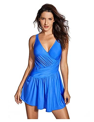 Traje de baño de una Pieza de Talla Grande con Control de Barriga para Mujer, Traje de baño con Falda y Cuello en V, Traje de baño (Color : Blue03, Size : 48)