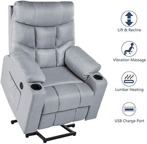 Esright Electric Gray Recliner Power Lift Chair for Elderly Heated Vibration Fabric Sofa Motorized Living Room Chair with Side Pocket and Cup Holders, USB Charge Port & Massage Remote Control