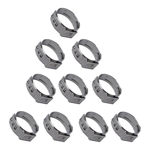 MagiDeal Collier de Serrage Ajustable en Acier Inoxydable Tuyau Pinces Clips Fixation 10pcs - 10 x 19.4-22.6mm