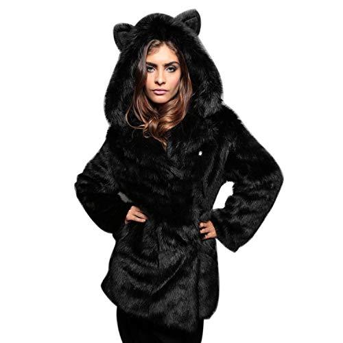 ADELINA Dames Faux Bontjas Hooded Zoete Oor Lange Vest Faux Fluffy Modieuze Completi Outwear Parka Jas Winterjas Warm Trench Jas Vintage Klassieke Winterjas