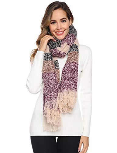 Abollria Sjaals voor Vrouwen Knop Gebreide Sjaal Poncho Deken Cape Cashmere Plaid Wrap Sjaal voor Dames