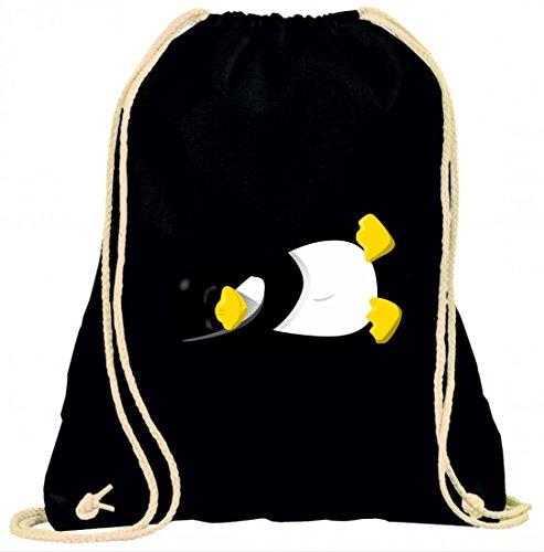 Druckerlebnis24 Turnbeutel Pinguin- Linux- SCHLAFEN- Tier- AUSSETZEN- Tux mit Kordel - 100% Baumwolle- Gymbag- Rucksack- Sportbeutel