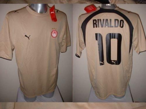 Olympiakos Rivaldo Brasil Grecia Adulto XL Camiseta de fútbol Puma BNWT Extra Large Barcelona AC Milan Olympiacos Griego