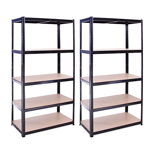 Garage Shelving Units: 180cm x 90cm x 45cm | Heavy Duty Racking Shelves for Storage - 2 Pack, Black 5 Tier (175KG Per Shelf), 875KG Capacity | For Workshop, Shed, Office | 5 Year Warranty