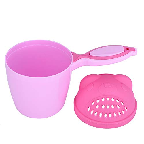 Netter Kid Shampoo Cup, Kinder Baby Shampoo Cup Baby Badezimmer Haarwäsche Duschhauben Bärenform Badespielzeug(Rosa)
