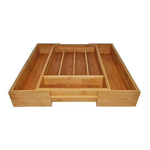 Point-Virgule range-couverts ajustable en bambou, rangement cuisine, 40.5 x 26.5 x 6.5 cm